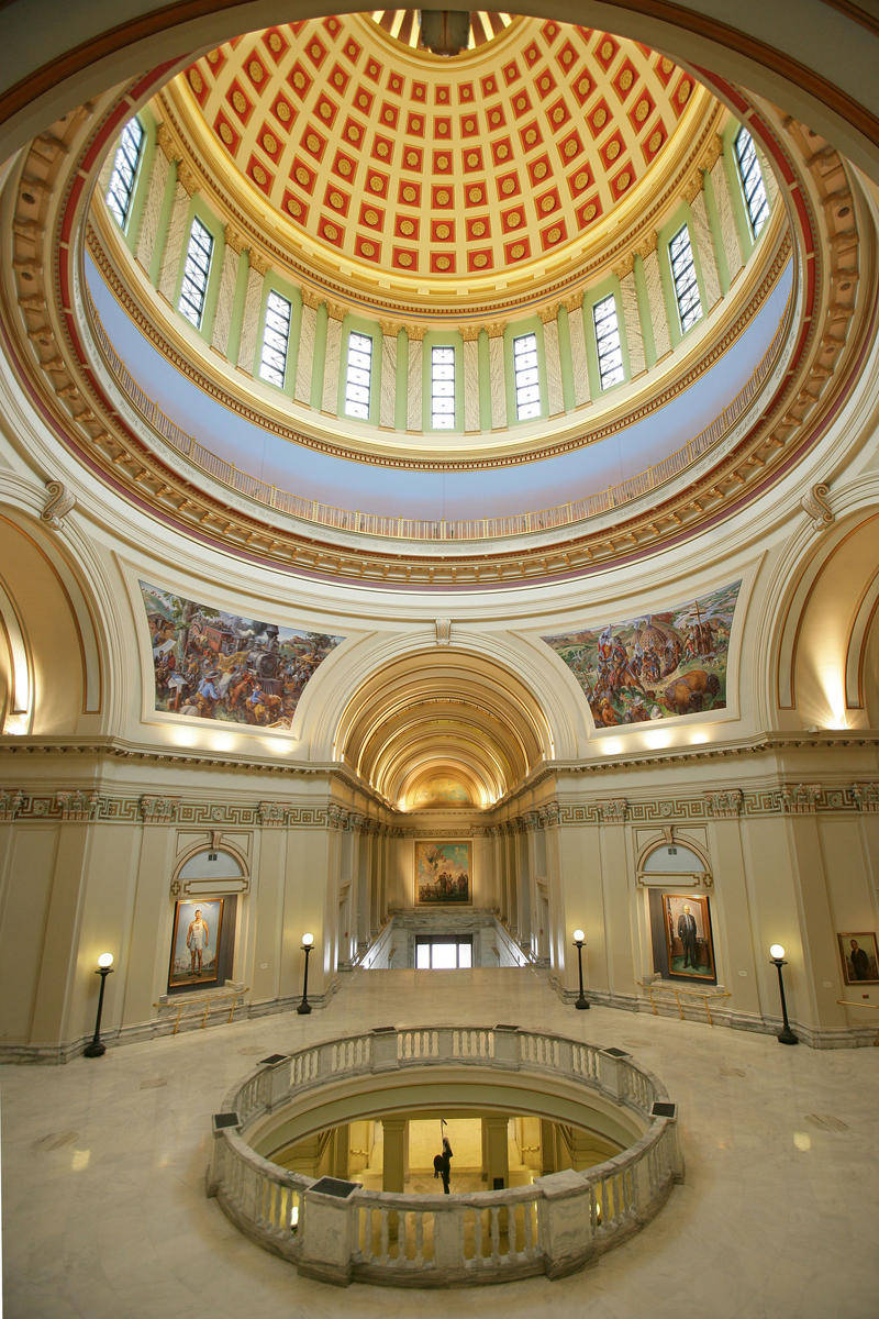interior view of Oklahoma Capitol rotunda and dome