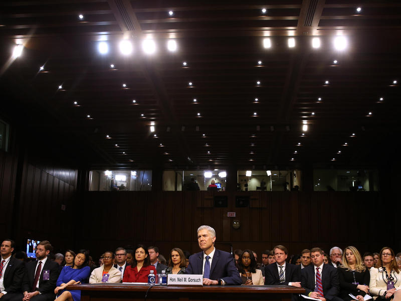 Neil Gorsuch appears before the Senate Judiciary Committee during his Supreme Court confirmation hearing on Monday.