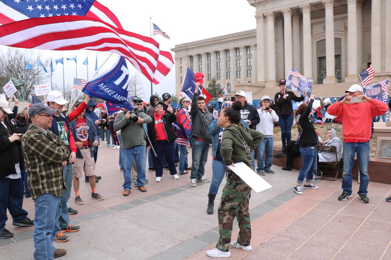 Trump supporters and protesters exchange heated words during a March 4 Trump rally at the Oklahoma State Capitol on March 4, 2017.