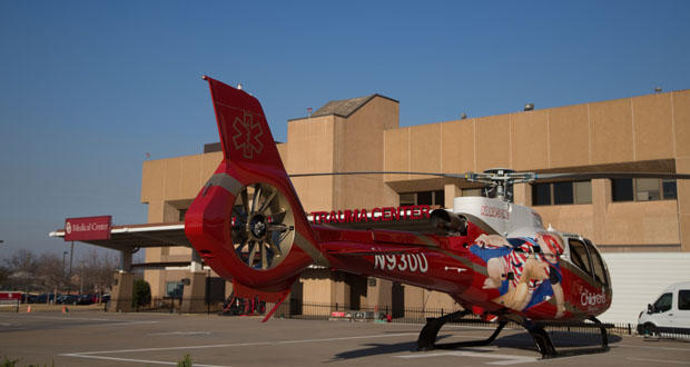 A helicopter is shown on a landing pad at OU Medical Center, 700 NE 13th St. in Oklahoma City.