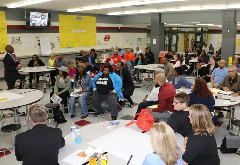 Community members gathered in the cafeteria of Tulsa's McLain High School on March 28 for a forum on the district's search for a new principal for the school.