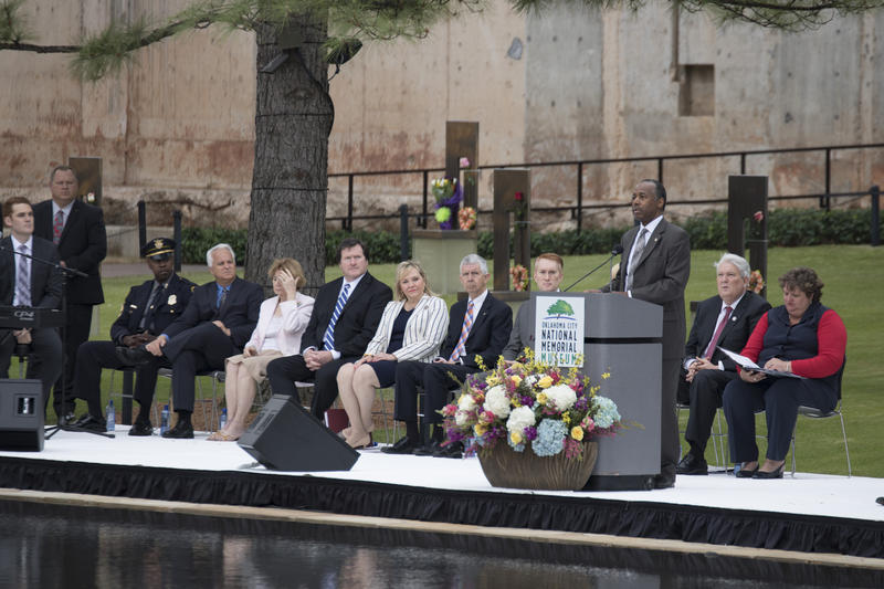 Housing and Urban Development Secretary Ben Carson spoke at the ceremony. Other speakers included Oklahoma Governor Mary Fallin, Senator James Lankford and Michael Turpen, chairman of the Oklahoma City National Memorial Foundation. (April 19, 2017).
