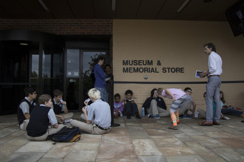 Students wait outside the museum, which featured free admission on the anniversary of the 1995 bombing.  (April 19, 2017).