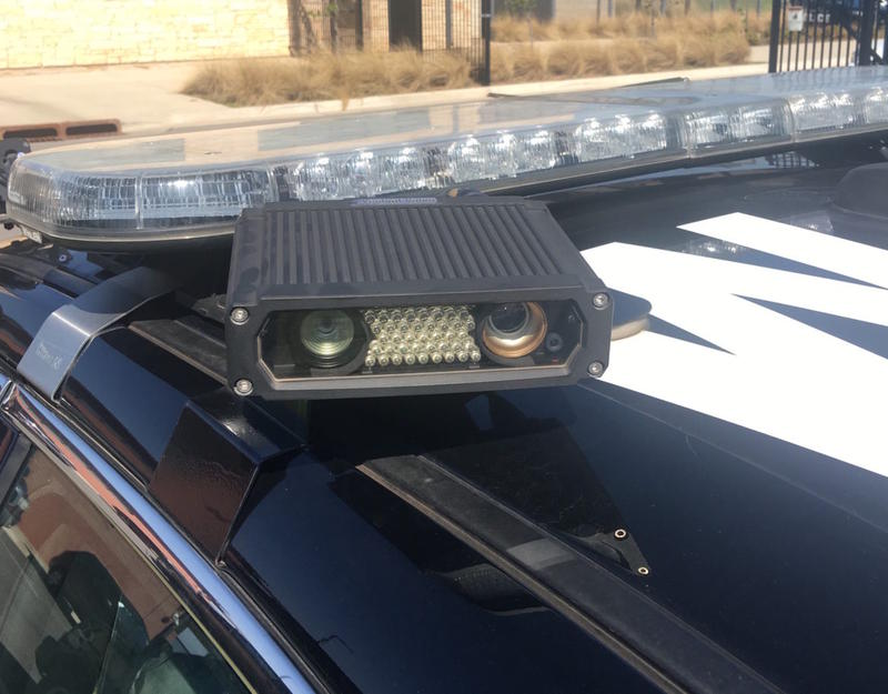 This license plate reader atop an Oklahoma City Police Department vehicle is used to detect vehicles that were stolen or used in a crime, but not to identify uninsured drivers. Oklahoma is less aggressive than many other states in use of some traffic enfo