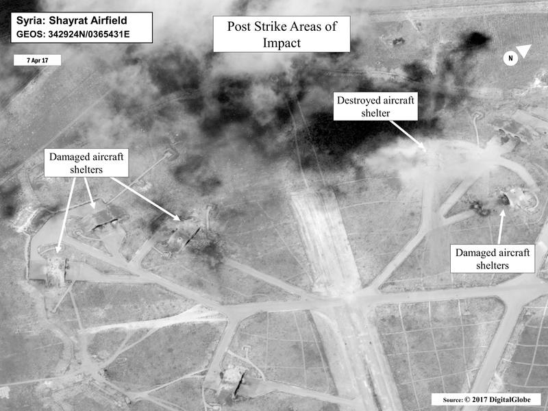 This satellite image released by the U.S. Department of Defense shows a damage assessment image of Shayrat air base in Syria, following U.S. Tomahawk Land Attack Missile strikes on Friday, April 7, 2017.