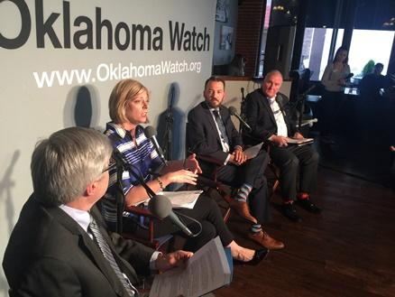 "Panelists at a May 3rd, 2017 Oklahoma Watch-Out forum on the state of ""Hunger in Oklahoma."""