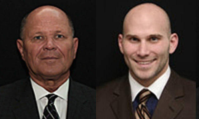 Richard Tate, left, and Ryan Tate, right, have been charged with embezzlement, extortion and racketeering.