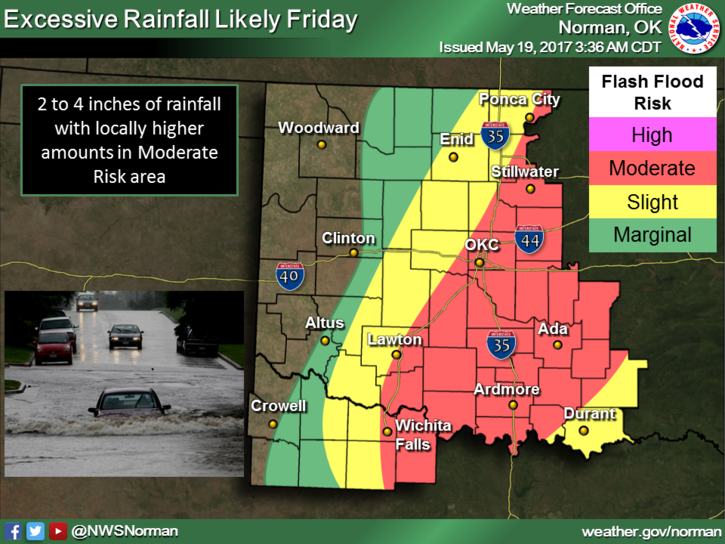 There is also the risk of flash floods across most of central Oklahoma.