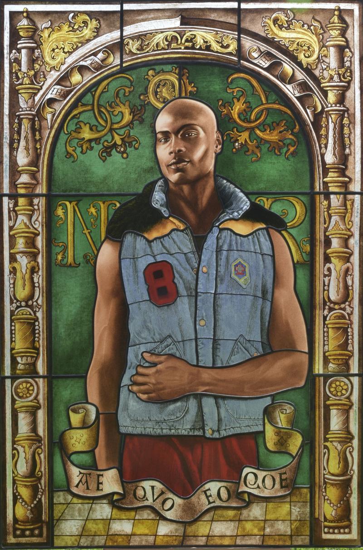 Arms of Nicolas Ruterius, Bishop of Arras, 2014. By Kehinde Wiley.