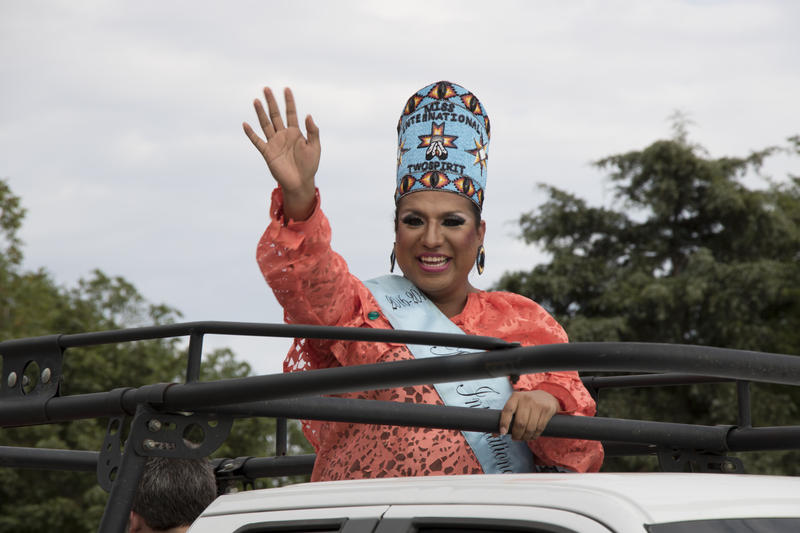 Sage Chanell, crowned Miss International Two-Spirit, leads the Oklahoma City Pride Parade.