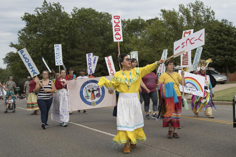Marchers representing Native American tribes were the first to walk down Classen Boulevard and 39th Street.