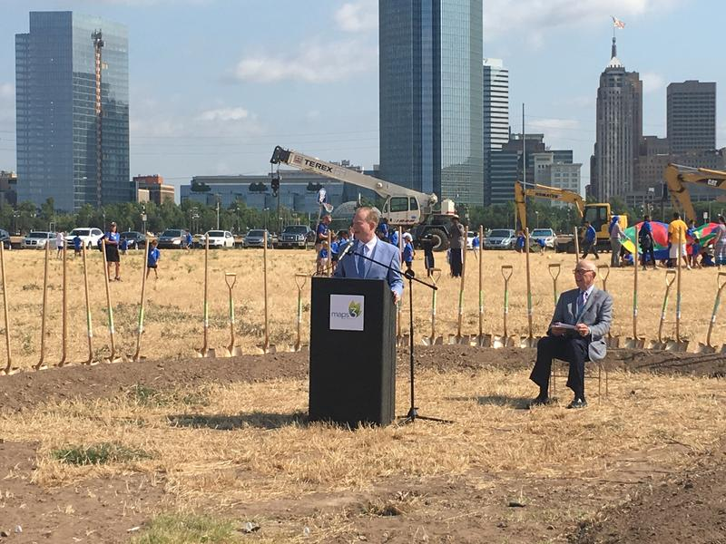 Oklahoma City Mayor Mick Cornett unveils the name of 'Scissortail Park' Thursday.
