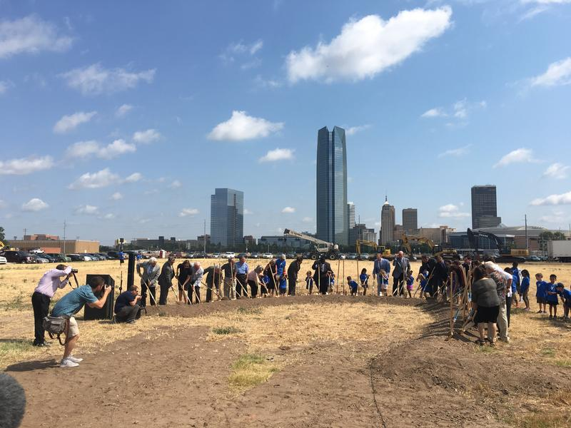 Commuity leaders break ground on 'Scissortail Park' Thursday, south of Bricktown in Oklahoma City.