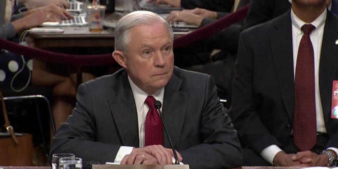 Attorney General Jeff Sessions listens to questions at a public hearing of the Senate Select Committee on Intelligence, June 13, 2017.