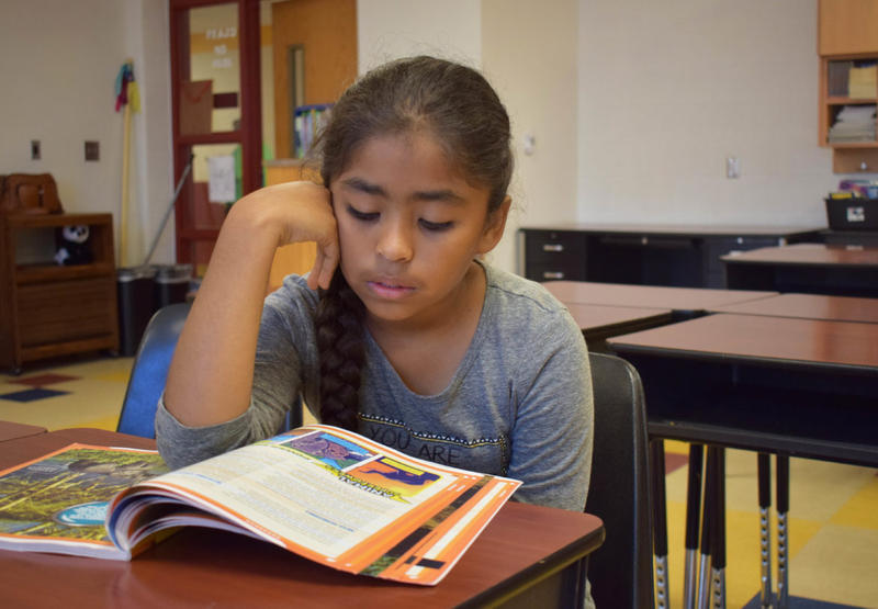 Alekza Quinonez, 10, studies reading in a summer school class at Cesar Chavez Elementary School in Oklahoma City.