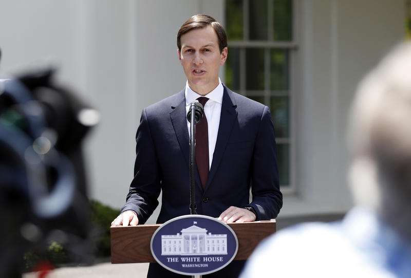White House senior adviser Jared Kushner speaks to reporters outside the White House in Washington, Monday, July 24, 2017.
