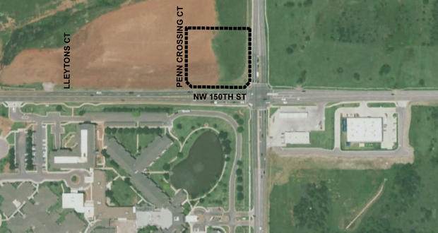An aerial map illustrates the location of a planned microhospital at 15103 N. Pennsylvania Ave. in Oklahoma City.