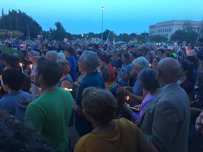 Oklahoma activists and residents gather outside the State Capitol Building to show solidarity with Charlottesville, Virginia.