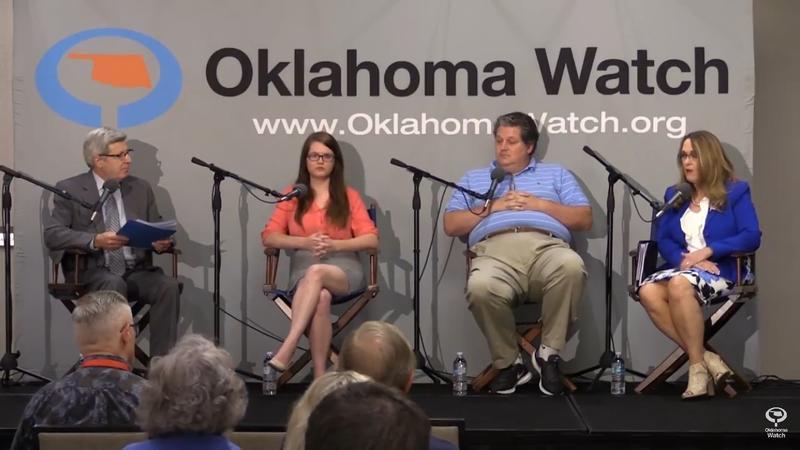 (L to R) David Fritze, OK Watch Executive Editor; Anna Langthorn, Oklahoma Democratic Party Chair; Bill Shapard, founder SoonerPoll.com; Pam Pollard, Oklahoma Republican Party Chair