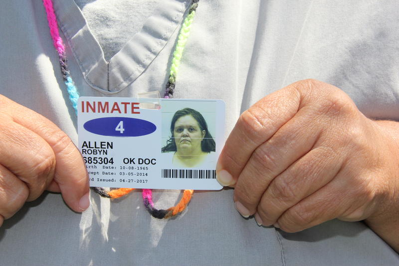 "Robyn Allen shows her Mabel Bassett prison ID. ""I don't ever want to be around meth anymore,"" she said at her 2013 sentencing hearing for drug trafficking. ""I seen what it does."""
