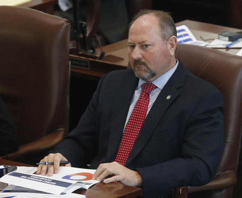 FILE - In this Wednesday, Jan. 4, 2017 file photo, Oklahoma state Rep. Kevin Wallace, R-Wellston, is pictured on the House floor in Oklahoma City.