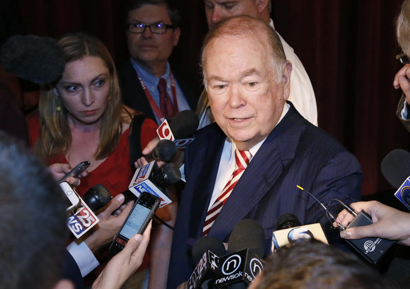 University of Oklahoma President David Boren talks with the media following his announcement that he will resign as head of the state's flagship university at the end of the current school year.
