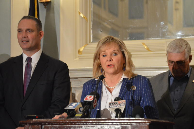 Oklahoma Gov. Mary Fallin and Speaker of the House Charles McCall (left) announce a budget proposal on Oct. 23, 2017.