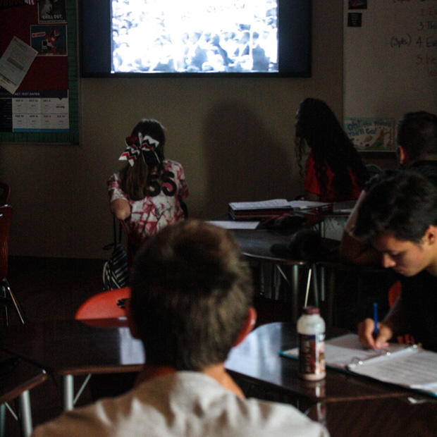 Students at Luther High School watch Martin Luther King Jr.'s