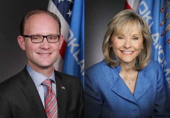 Oklahoma House Minority Leader Scott Inman (D-Del City) and Republican Gov. Mary Fallin