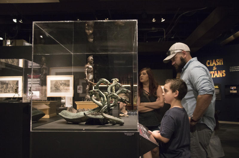 Visitors to the Science Museum Oklahoma look at the hydra, a creature from the film Jason and the Argonauts.