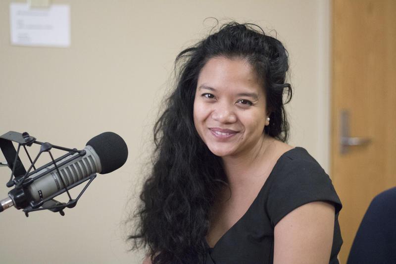 Poet Sasha Pimentel at the KGOU studios.