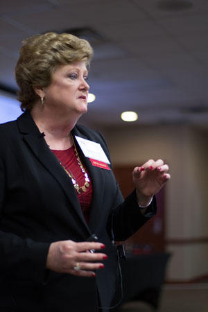 Nancy Parsons, CEO and president of CDR Assessment Group Inc., speaks at the 2020 Woman on Boards conference at Oklahoma City University's Meinders School of Business.