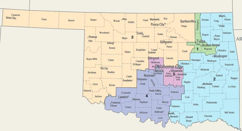 Oklahoma has five Congressional districts. A ballot measure proposedby a nonprofit could allow voters to decide to transfer redistricting duties to an independent, nonpartisan commission.