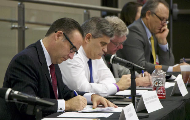 Acting Health Commissioner Preston Doerflinger, left, at a Joint Commission on Public Health meeting. Doerflinger says the Oklahoma Tax Commission or the Oklahoma State Board of Pharmacy might be better equipped to regulate medical marijuana.