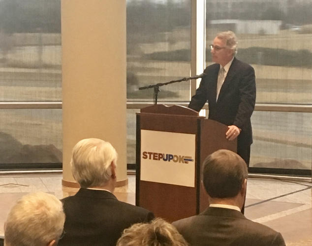 BancFirst Executive Chairman David Rainbolt introduces the Step Up Oklahoma plan at a news conference Friday at the Oklahoma History Center.