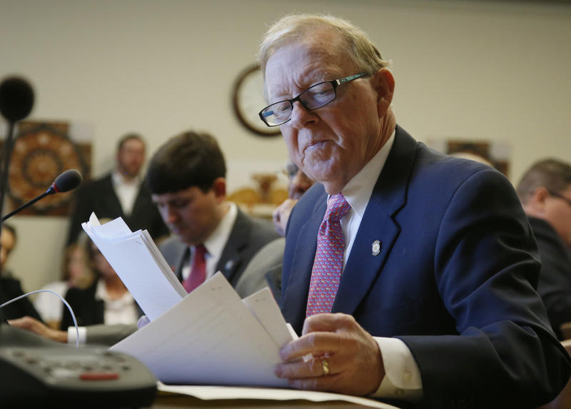 Oklahoma state Rep. Earl Sears, R-Bartlesville, looks over papers during a budget committee hearing in Oklahoma City, Thursday, Feb. 8, 2018.