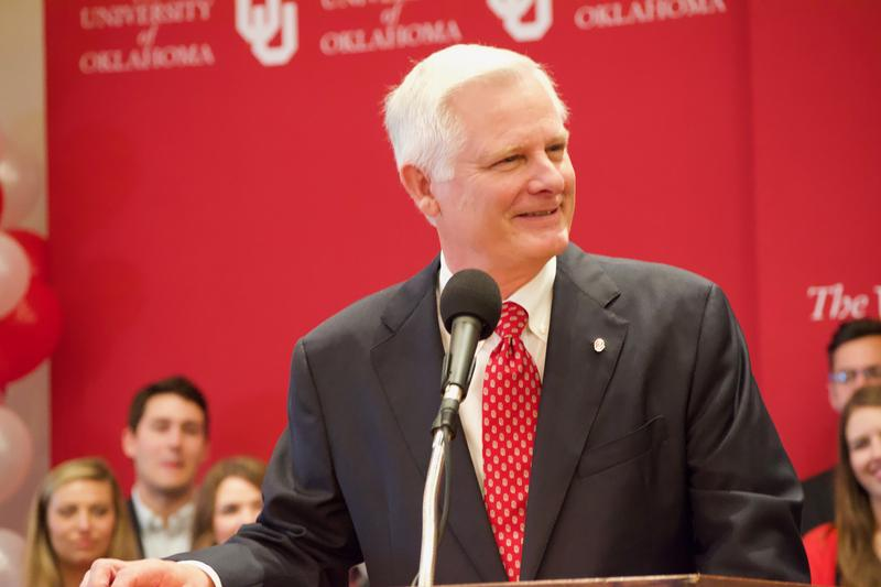 James Gallogly speaks during a ceremony  announcing him as the 14th president of the University of Oklahoma on March 26, 2018.
