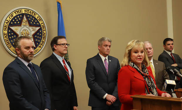 Gov. Mary Fallin, district attorneys and legislators announced an agreement on criminal justice legislation at a March 5 press conference.