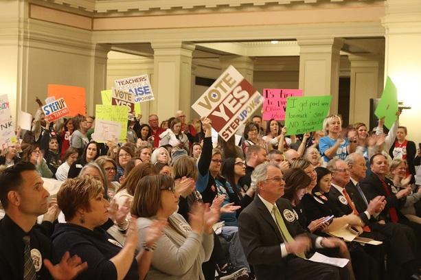Oklahoma teachers rallied in support of the Step Up Oklahoma plan on February 12, 2018. The plan would have provided $5,000 teacher pay raises, but failed in the House.