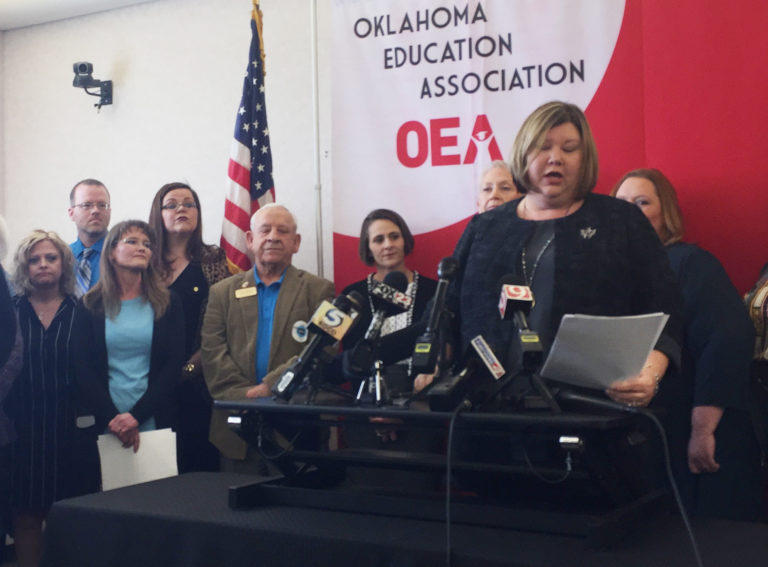 Oklahoma Education Association President Alicia Priest announces that teachers will walk out of public schools on April 2 unless the Legislature approves nearly $1.5 billion in new revenue for teacher and state employee pay raises and higher education.
