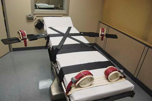 The execution table in the death-penalty chamber at the Oklahoma State Penitentiary in McAlester.