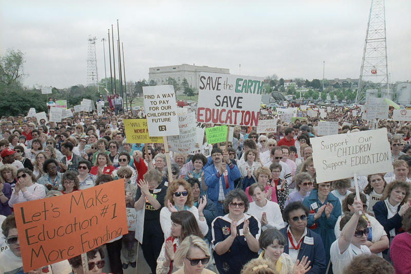 Teachers from around Oklahoma gather on the south steps of the state Capitol on Monday, April 16, 1990 n Oklahoma to protest the failure of the Legislature to pass an education reform and tax bill.