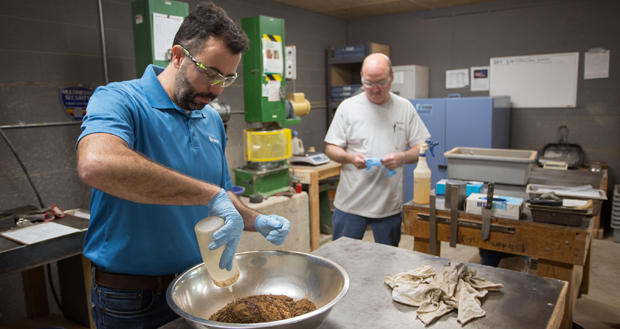 Laboratory manager Karim Saadeddine prepares a soil sample for testing at TerraCon Consultants, 4701 N. Stiles Ave. in Oklahoma City. TerraCon holds a summer jobs program for teachers.
