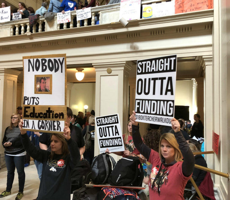 Teachers demonstrate inside the Capitol Wednesday, the third day of an ongoing walkout.