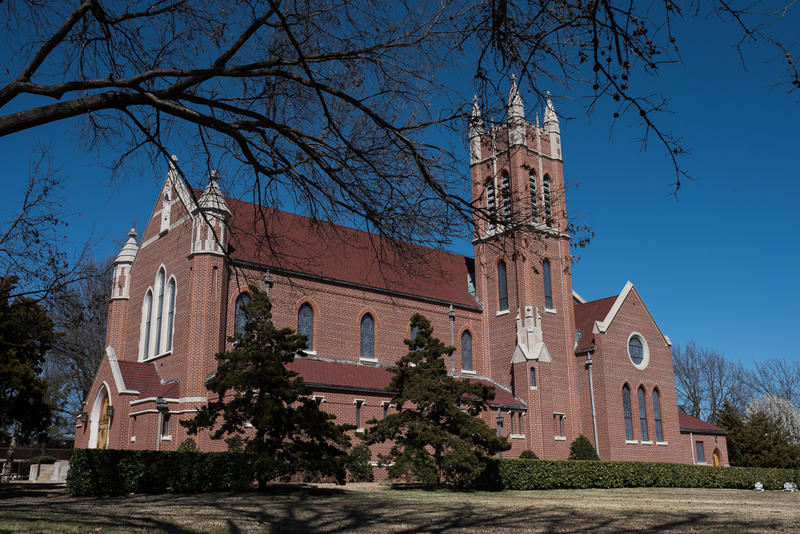 Although St. Gregory's University in Shawnee has closed, St. Gregory's Abbey remains active on adjacent grounds, with the abbey church shown here, a monastery and other facilities.