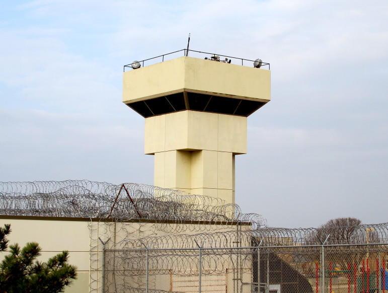 A guard tower at the Joseph Harp Correctional Center in Lexington.