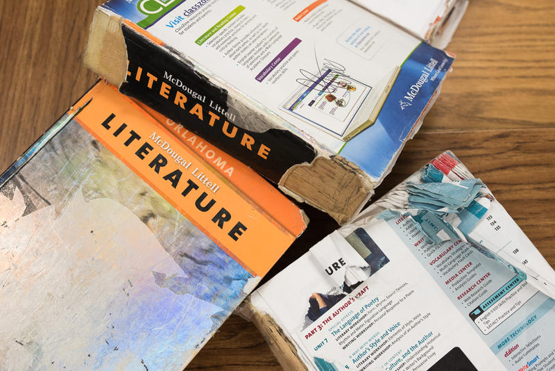 Freshman English books have damaged covers and spines at Putnam City High School in Oklahoma City.