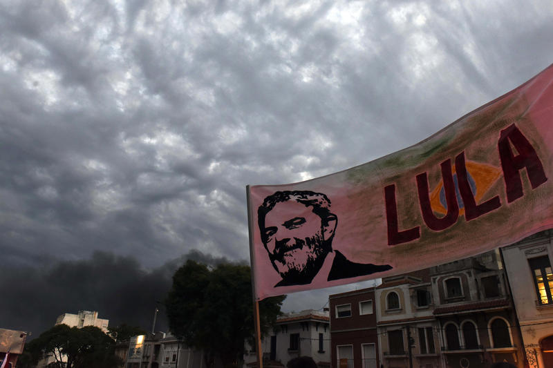 A banner depicting an image of Brazil's former President Luiz Inacio Lula da Silva is seen outside the Brazilian embassy during a demonstration in support of Da Silva, in Montevideo, Uruguay, Wednesday, April 11, 2018.