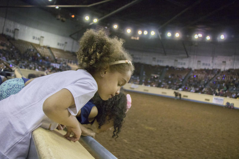 Girls lean over the stands at the Jim Norick Area at the Oklahoma State Fair Park.