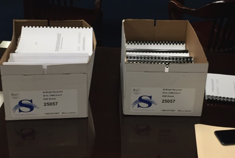 These boxes contain the documents of the grand jury report on its probe into the Oklahoma State Department of Health financial crisis.
